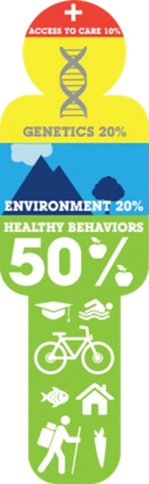 Barriers to Health: Access 10%, Genetics 20%, Environment 20%, Healthy Behaviors 50%